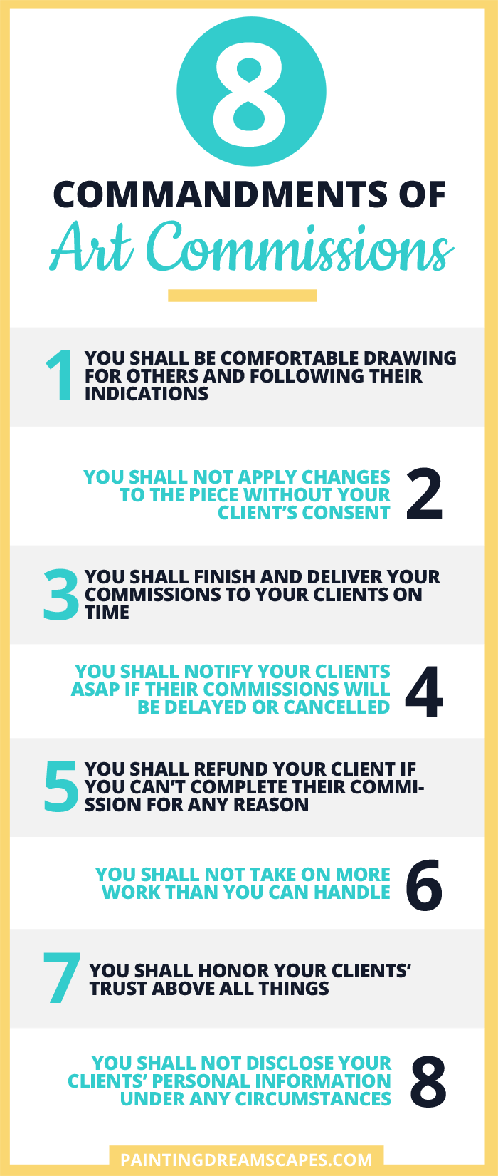 8 commandments of art commissions printable - painting dreamscapes
