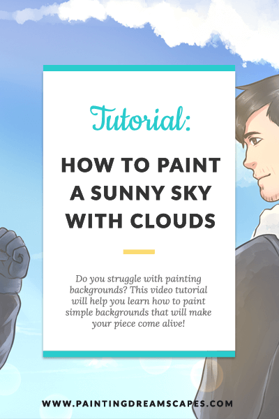 painting backgrounds tutorial - how to paint a sky with clouds featured