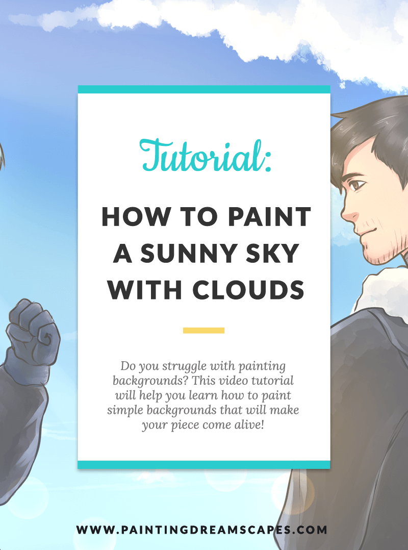 painting backgrounds tutorial - how to paint a sky with clouds