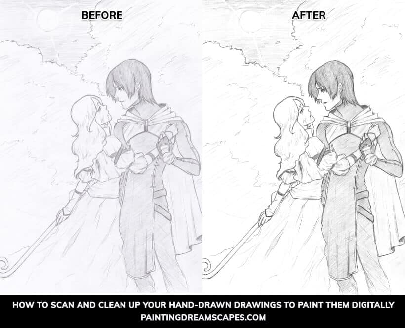before and after - how to scan and clean up your drawings to paint them digitally - Painting dreamscapes
