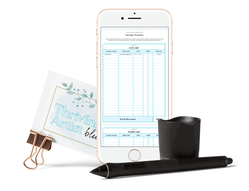 Income Tracker Monthly mock up