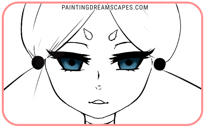 anime eyes with first highlights included