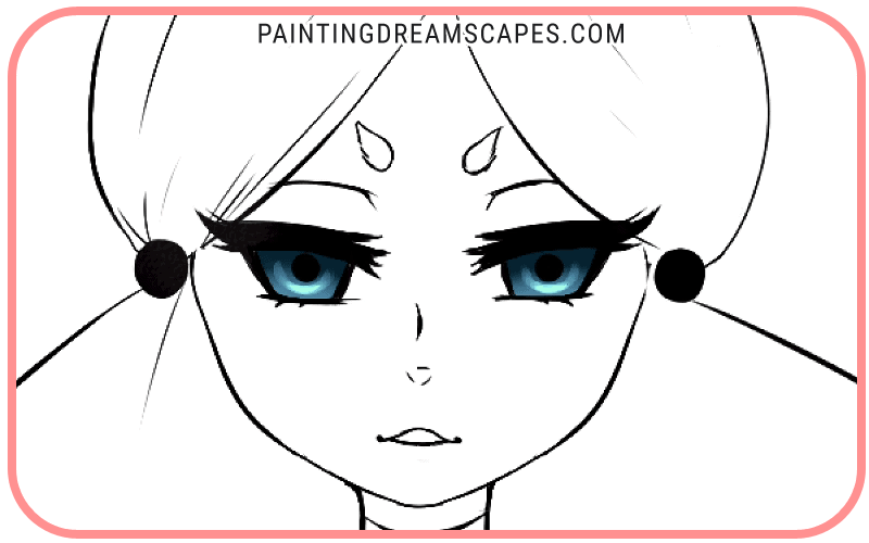 anime eyes with strong highlights added