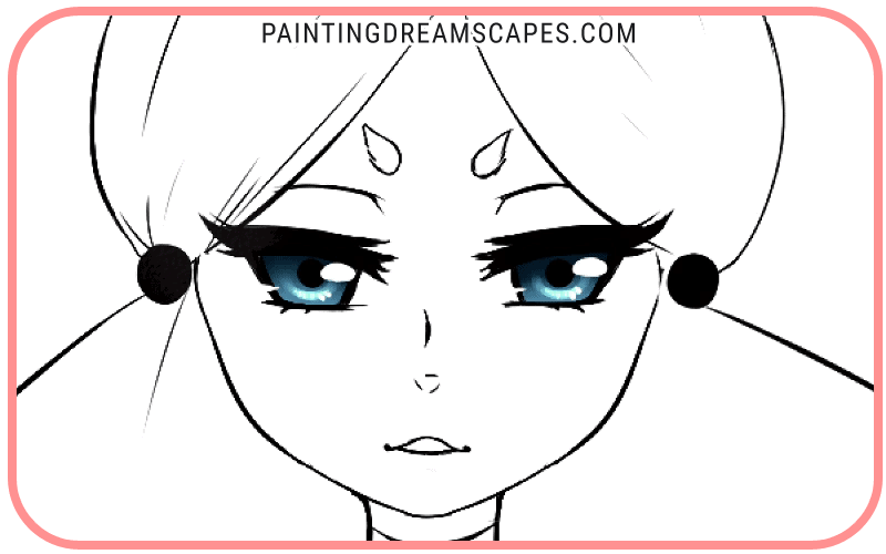 anime eyes with eye reflections added